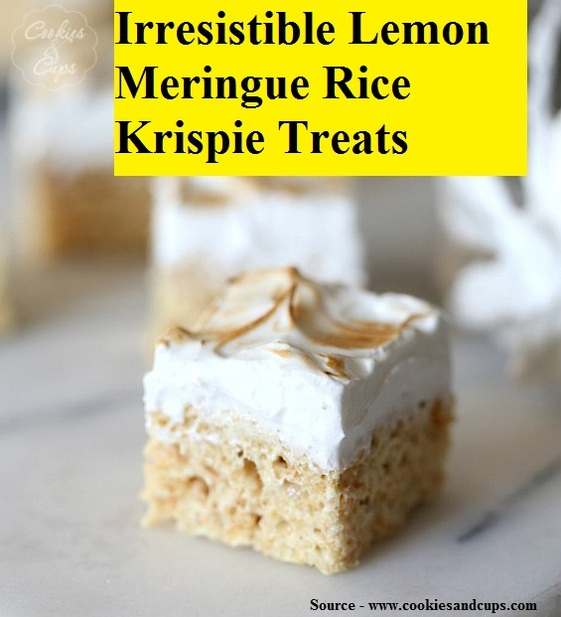 IrresistIble Lemon Meringue Rice Krispie Treats