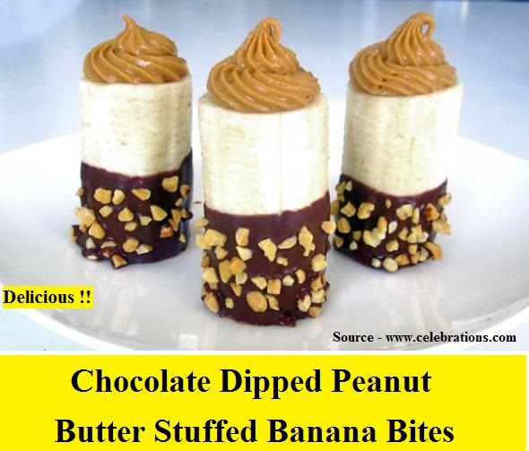 Chocolate Dipped Peanut Butter Stuffed Banana Bites